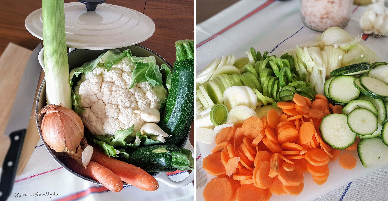 Préparation d'un rôti de chou-fleur avec ses petits légumes
