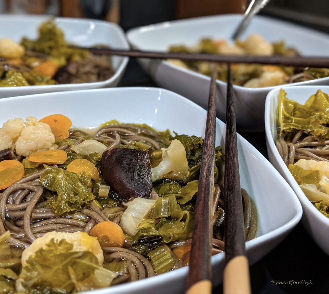 Japan-inspired veggie soba miso soup