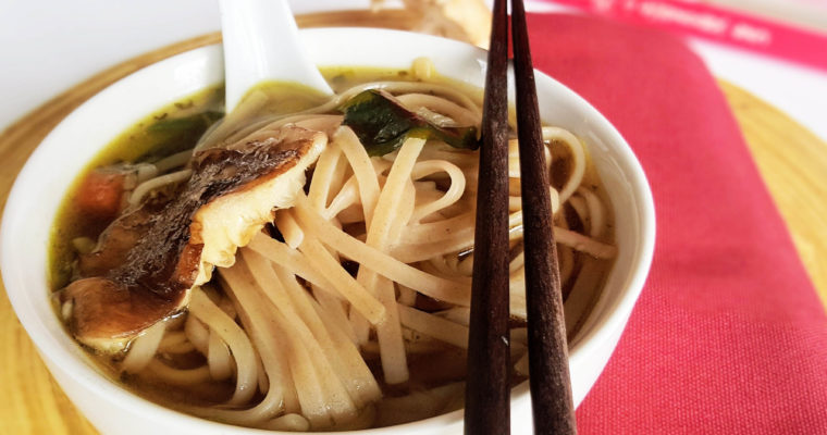 Japan-inspired soba miso soup