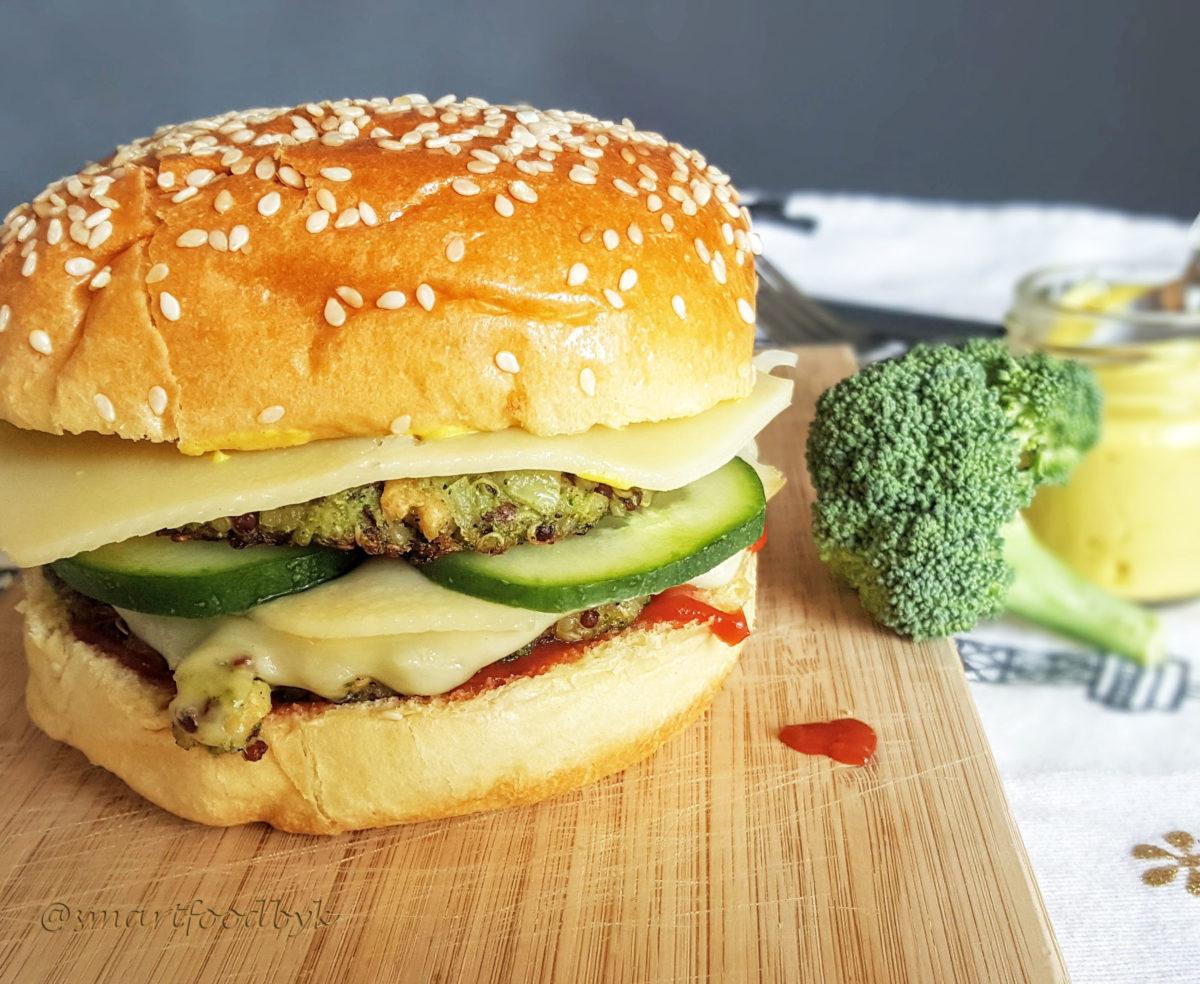 Double veggie burger au brocoli et quinoa