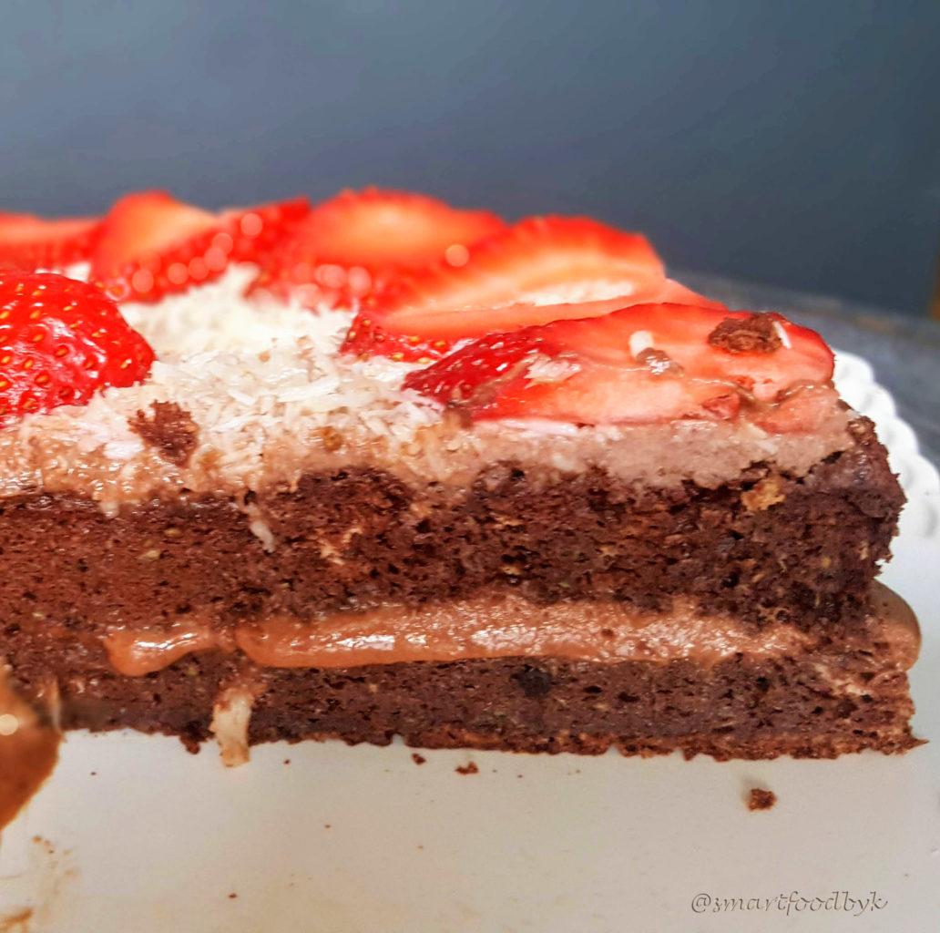 Dark chocolate coconut strawberry cake. Lactose-free. Gluten-free.