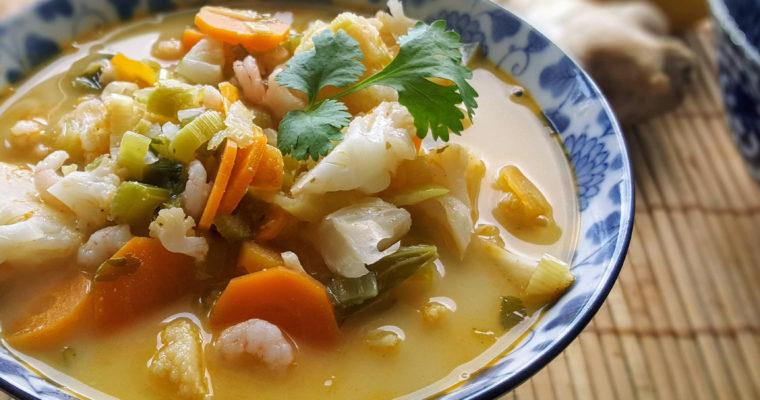 Soupe coco crevette, douce et crémeuse