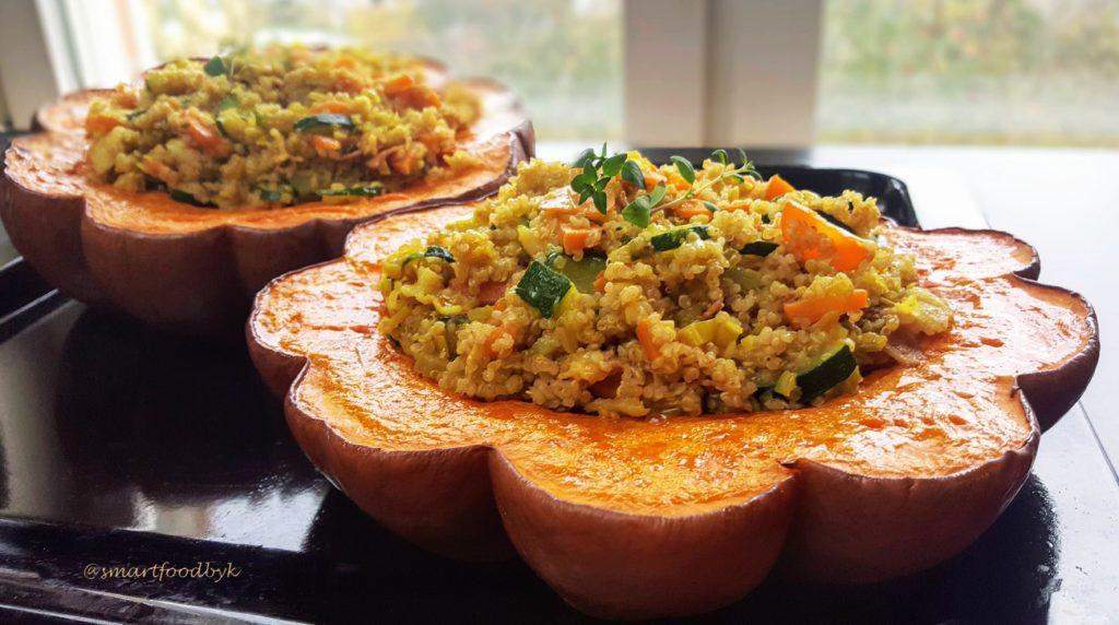 Courge musquée farcie aux petits légumes (et sans parmesan). Stuffed winter squash roast (without parmesan).