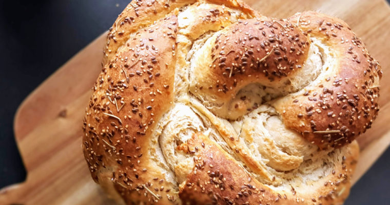Savoury brioche with thyme, rosemary, sesame & flexseeds