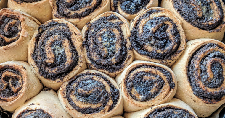 Orange scented poppy seed rolls with raisins