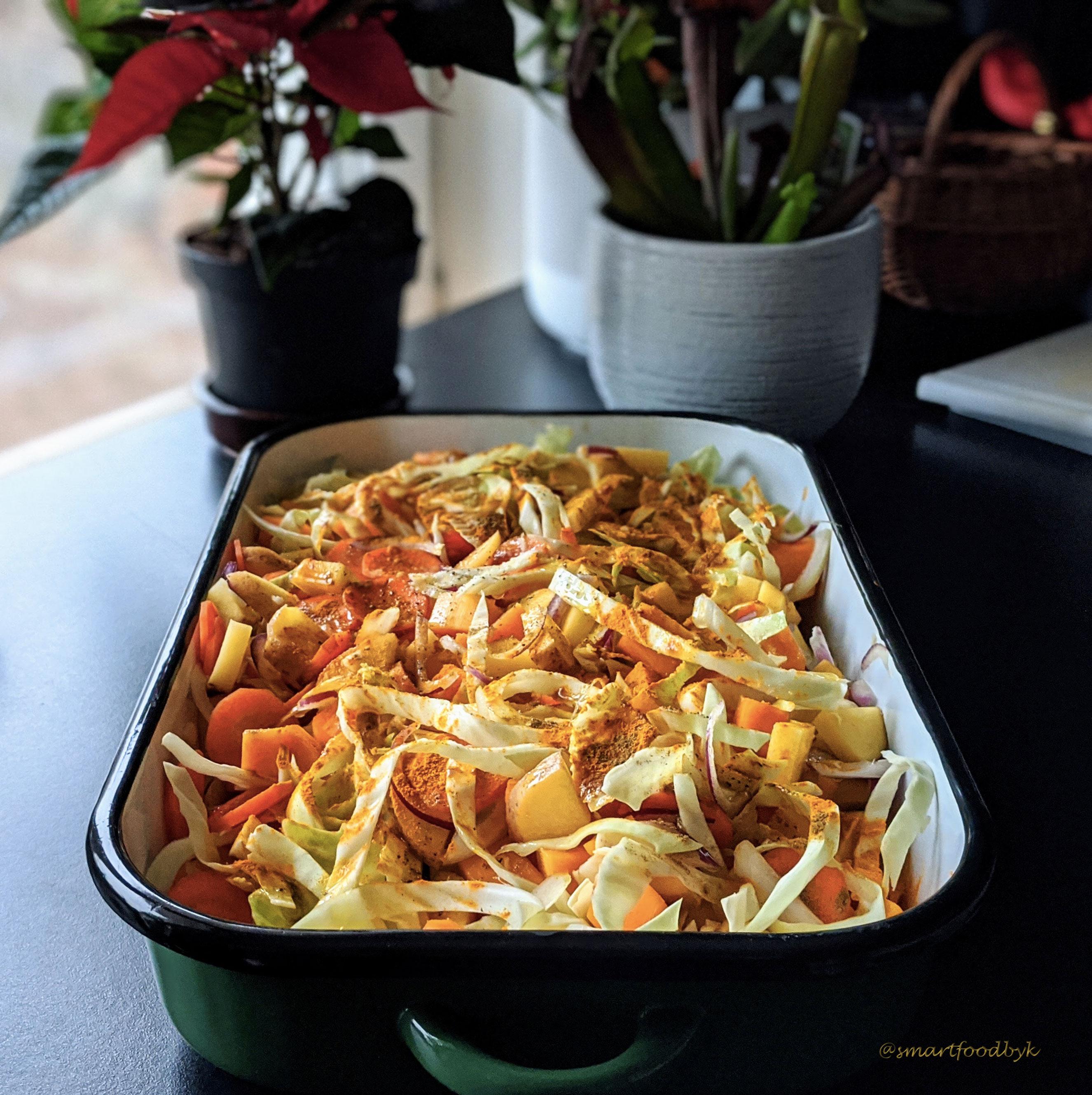 Gratin de légumes d'hiver à la moutarde et aux graines