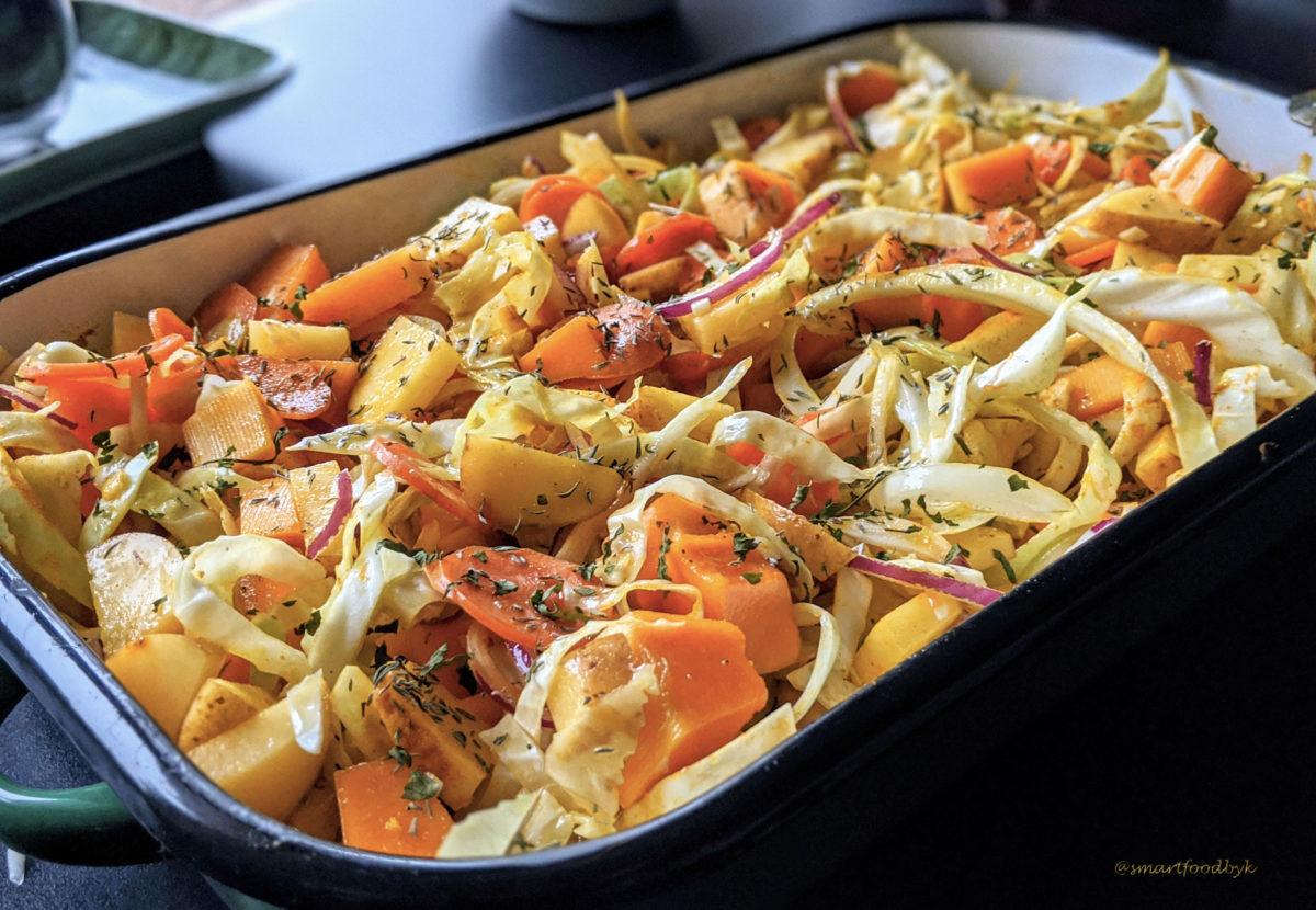 Oven ready winter veggies gratin. Gratin de légumes d'hiver prêt à enfourner..