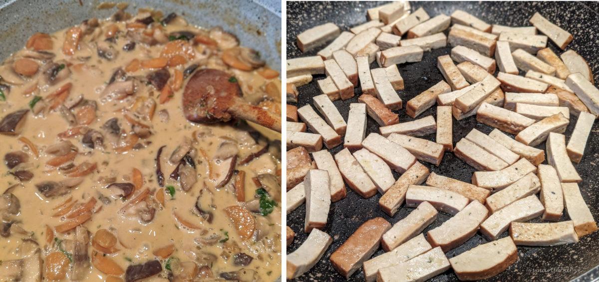 Mushroom Stroganoff. Smoked tofu sticks. Stroganoff aux champignons. Allumettes de tofu fumé.