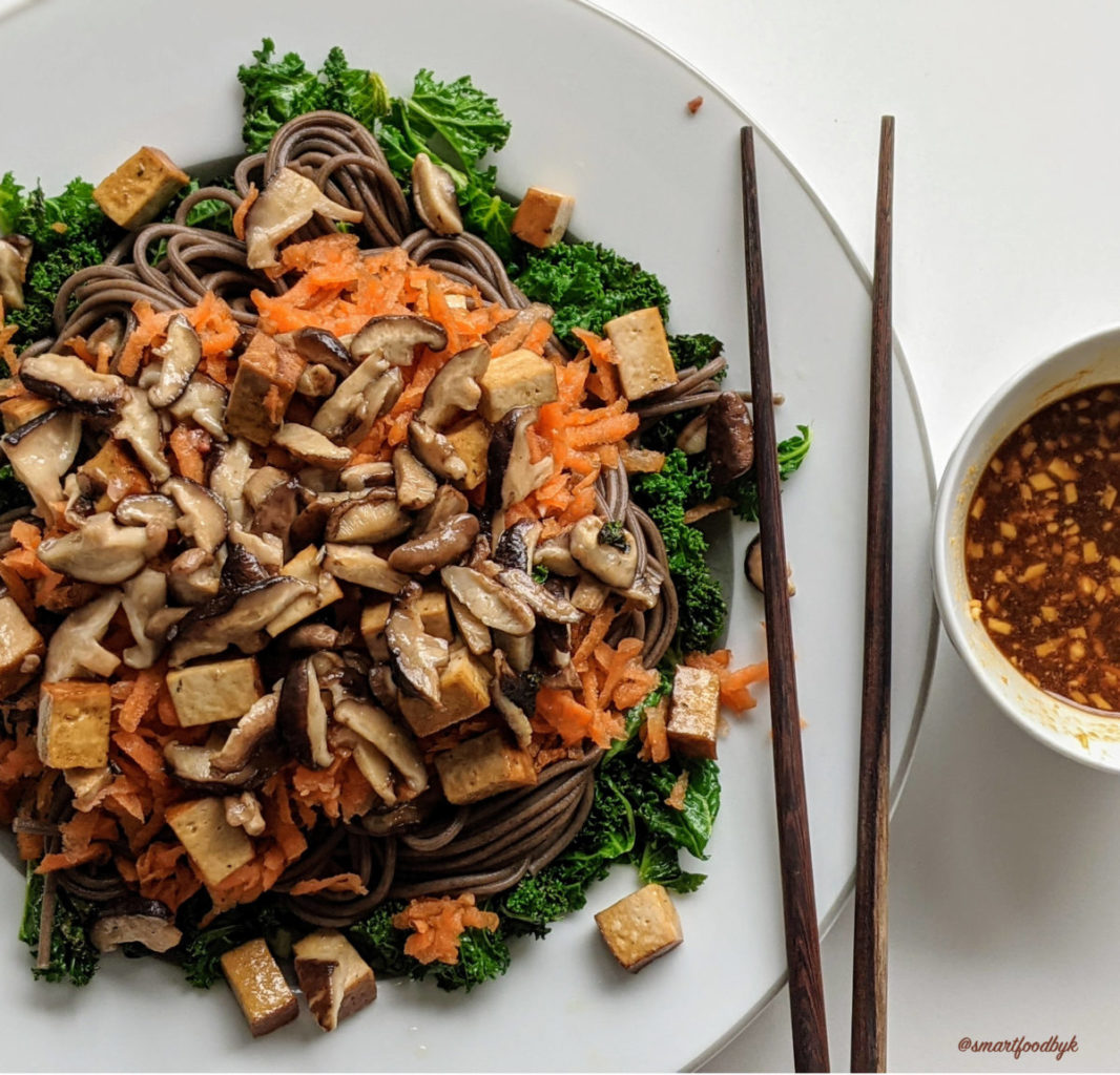 Soba noodle bowl with sautéd kale, shiitake, smoked tofu and raw grated carrot. Plus the secret sauce.