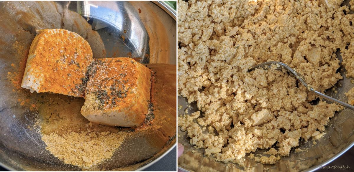 Step 4: prepare the scrambled tofu. Etape 4 : préparez le tofu brouillé.
