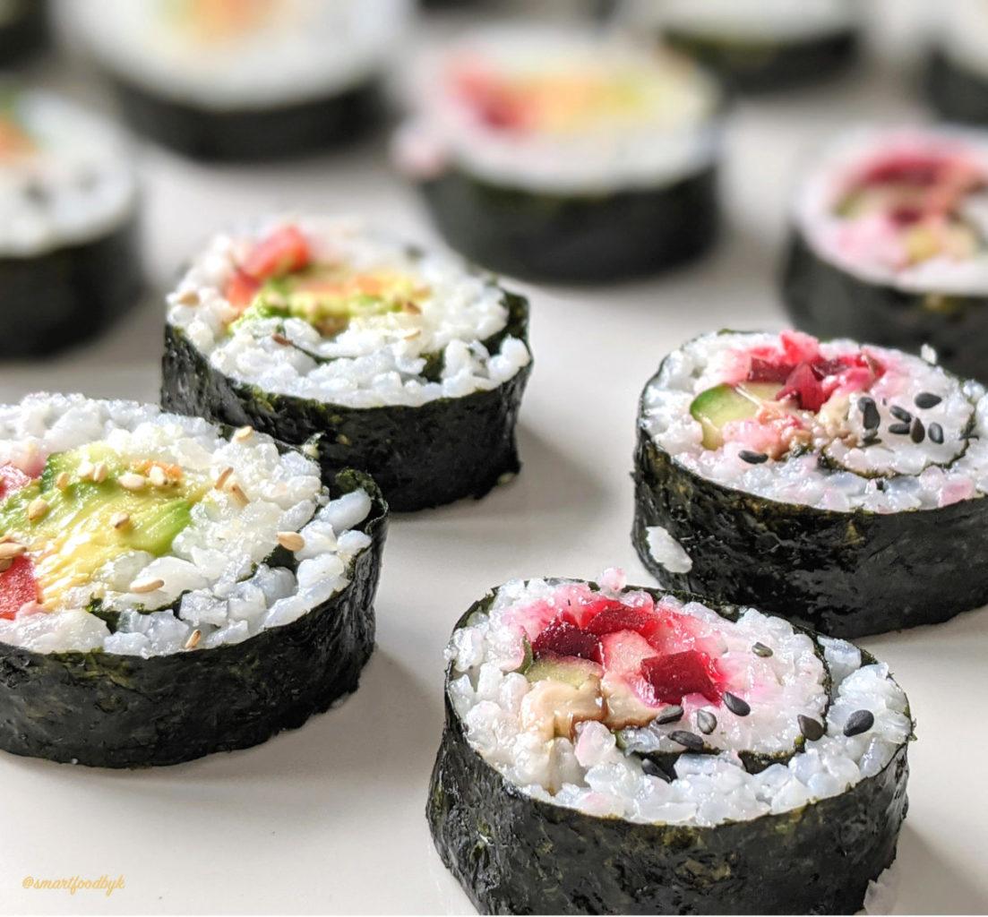 Vegan Sushi 4 ways (shiitake, smoked tofu, avocado…)