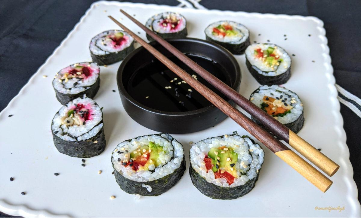 Homemade vegan sushi.