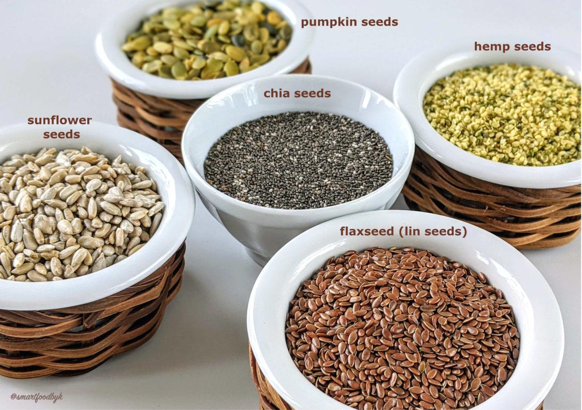 5 superfoods seeds: hempseed, flaxseed (lin seeds), chia seeds, sunflower seeds, pumpkin seeds.