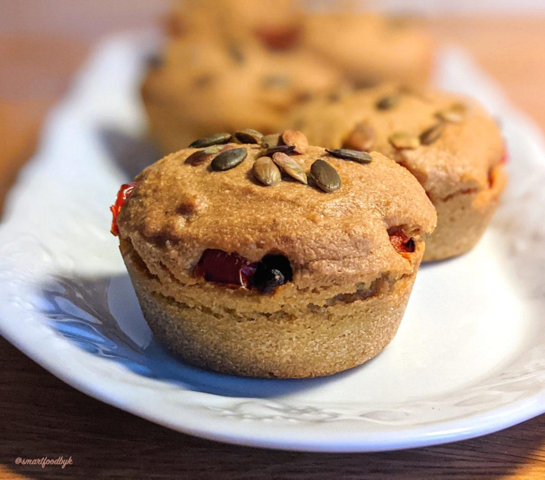Vegan Polenta Muffins with Red Pepper & Shiitake