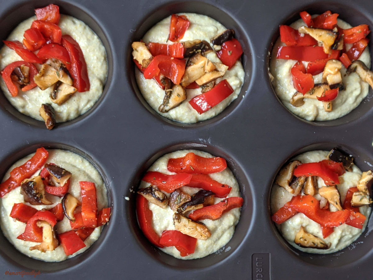 Muffin batter with sautéd red peppers and shiitake stuffing.