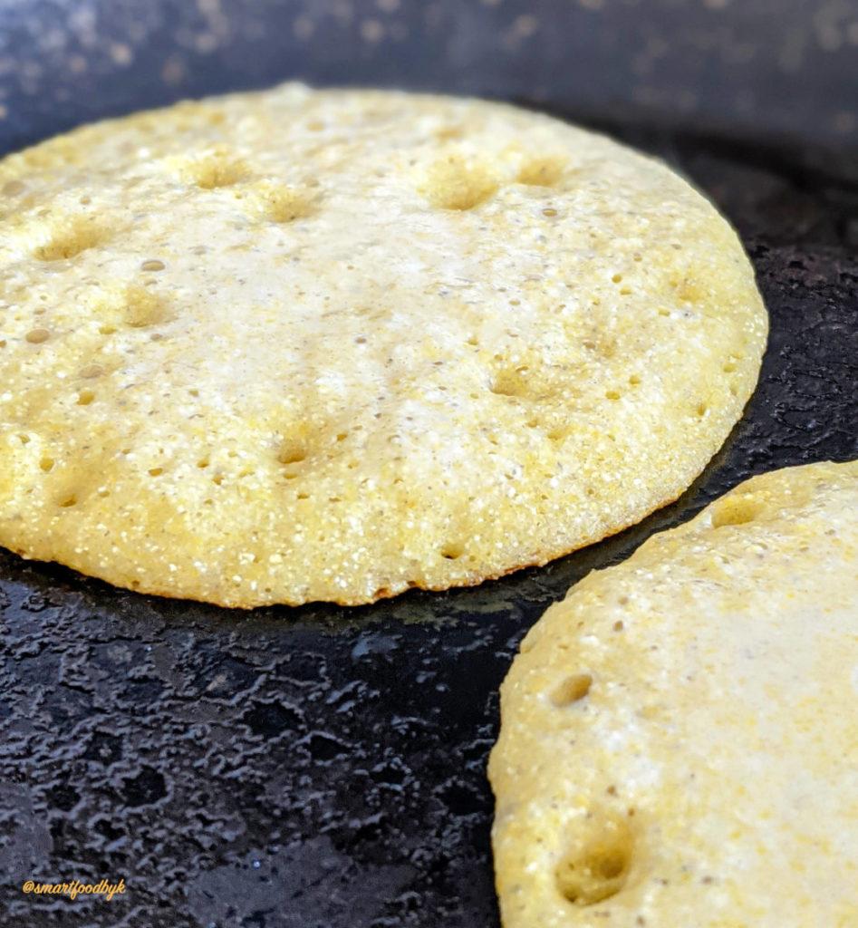 Pancakes pan cooking.